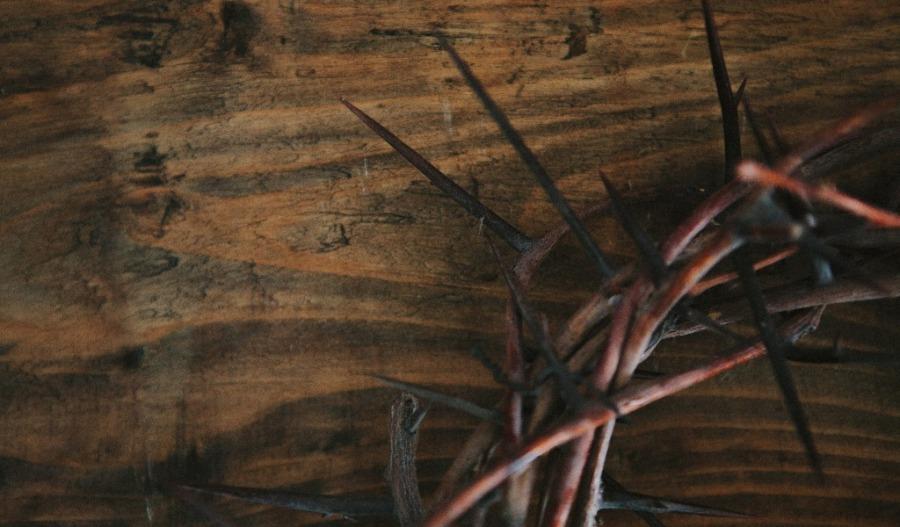 corona-de-espinas-fondo-madera