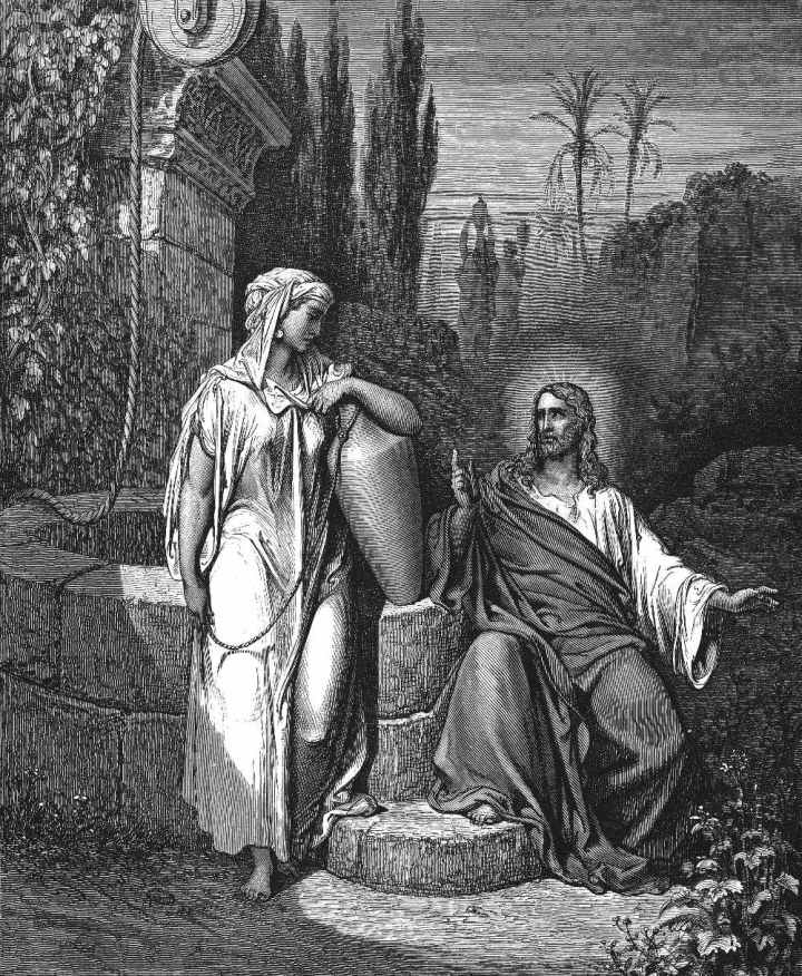 Jesús habla con la samaritana en el pozo de sicar