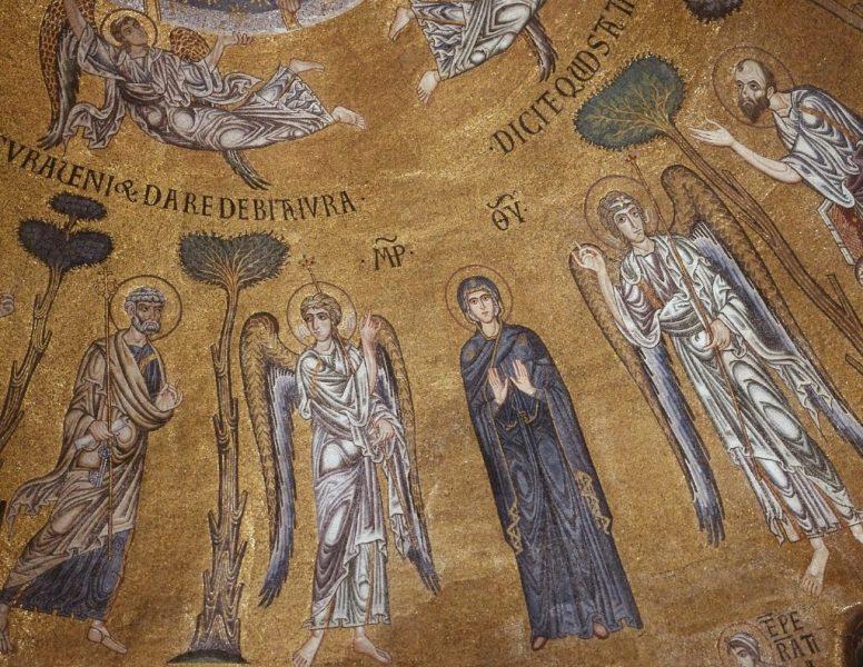 mosaico-bizantino-virgen-angeles,santos